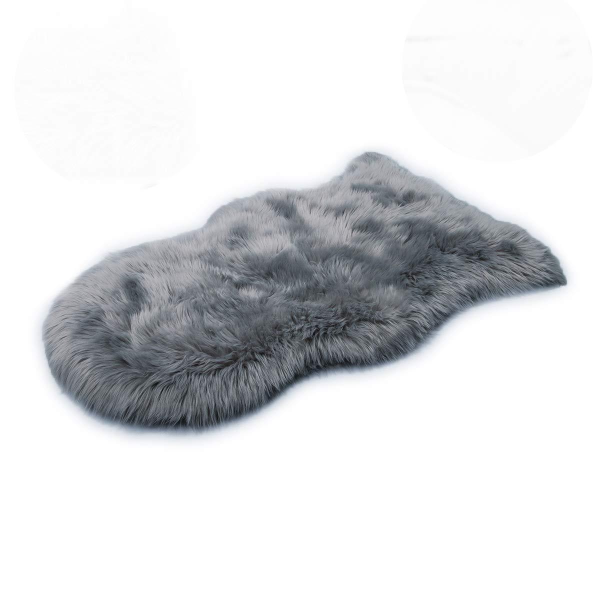 HEQUN Faux pelliccia di agnello di pecora tappeto, pelliccia sintetica decorativa Fell In Super Soffice Pelliccia di agnello imitazione Tappeto Longhair effetto pelliccia divano letto in imitazione Vo (Grey, 50 X 80 CM)