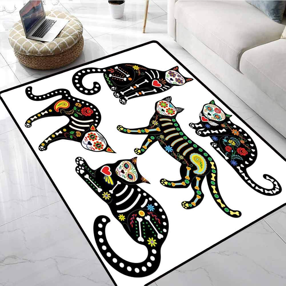 Sugar Skull Decor Carpet Mat Calavera Ornate Black Cats in Mexican Style Holiday The Day of The Dead Office Chair Floor Mat Foot Pad 48 X 72 Inch