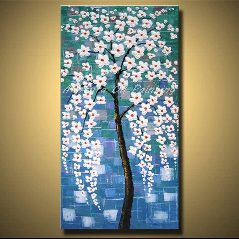 Pinturas Al Pintura Al Óleo Pintado A Mano,Pintado A Mano Al 100% Paisaje Abstracto Paleta Con Textura Fondo Azul Con Flores Blancas Pinturas Al Óleo Sobre Lienzo Cuadros De Arte Moderno De La Pared