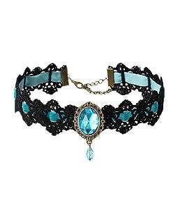COMVIP Mujeres Ampliación de Terciopelo de Piedra gótico del cordón de la Cadena de estrangulamiento Ajustable Azul Claro