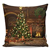 Premium Decorative Cushion Throw Pillow Hypoallergenic Stuffer Silicone Filling (17'' x 17'') | Christmas Noel Fireplace Tree Gift Toy New Year Home 50% Cotton 50% Polyester Full with Silicone