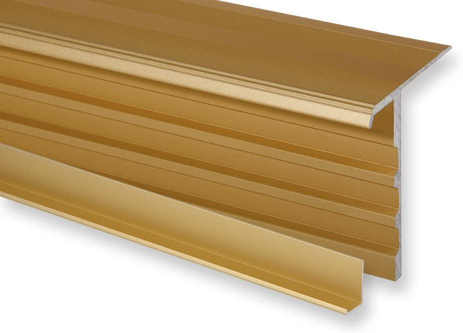 1400 mm, Silber Aluminium eloxiert Trepsa Treppenkantenprofil Trepsa Profil 4 mit Abschluss-Clip