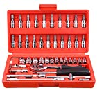Yescom 46pcs Socket Set Ratchet Wrench Spanner Auto Repair Tool Combination Bit Kit