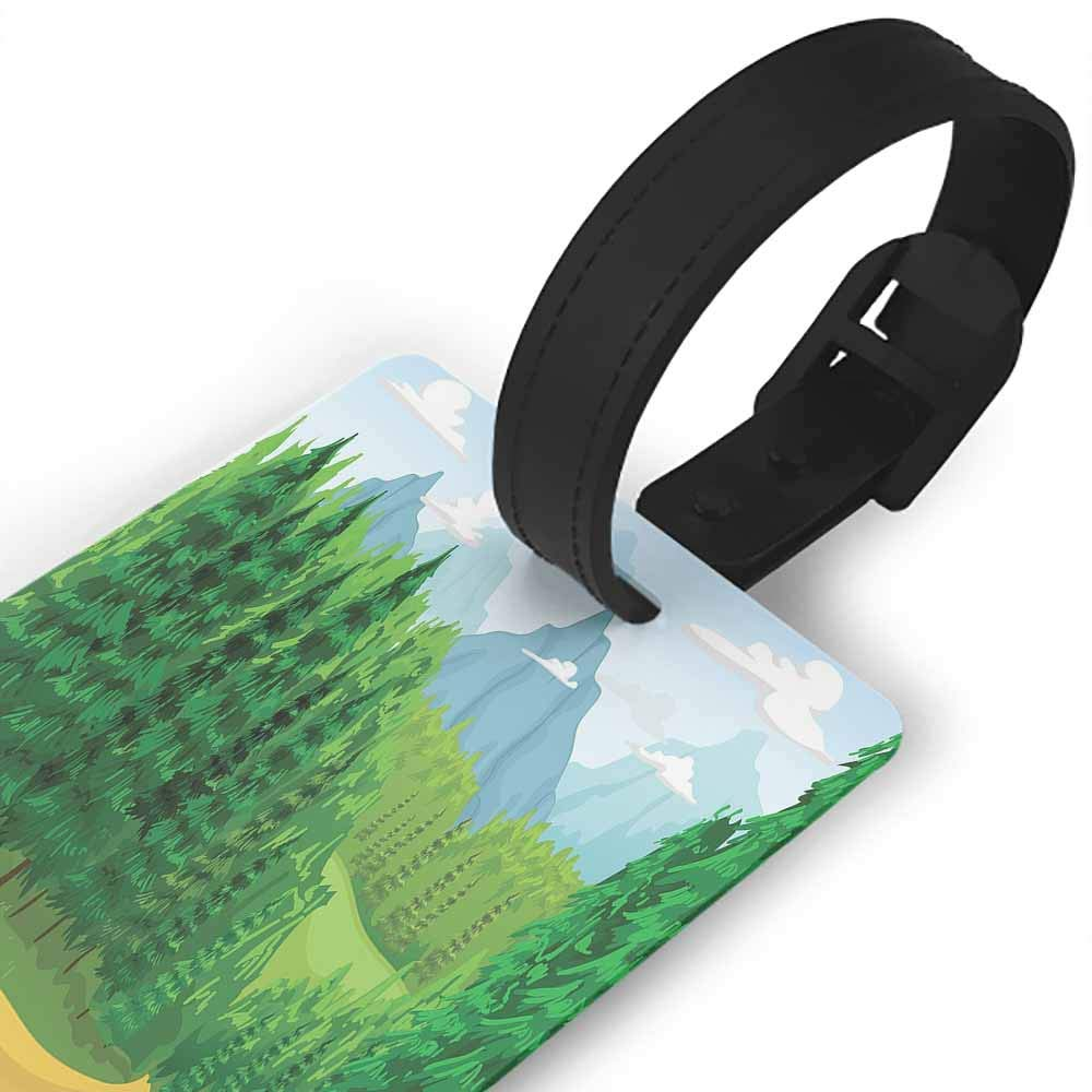 Funny luggage tag,Forest,Green Landscape with Coniferous Trees High Mountains and Open Sky,One Size Travel Accessories Pale Blue Mustard Yellow