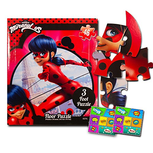 Miraculous Ladybug Giant Floor Puzzle for Kids with Stickers (3 Foot Puzzle, 46 Pieces)