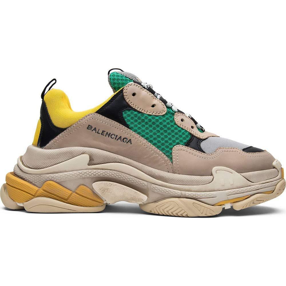 Green LV-GU-belt Balenciaga Men's & Women's (Size 35-45) Triple S grey Clair Mesh Nubuck Leather shoes Black