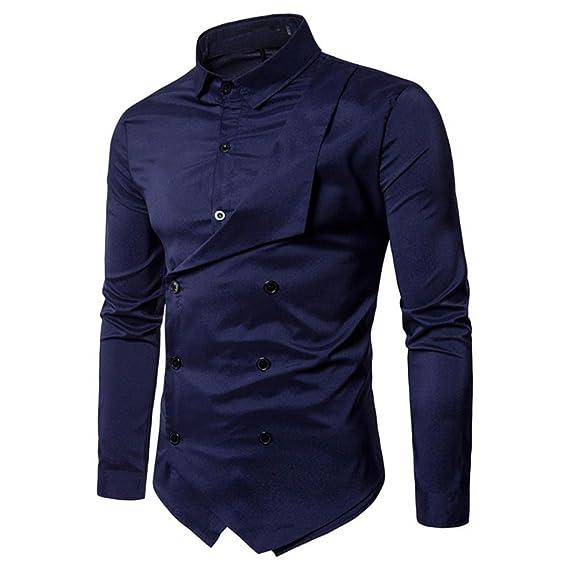 Camisa de Hombre Moda Personalidad Casual Delgado Manga Larga Sólido Básica Negocio Formal Tops Blusa Sudaderas