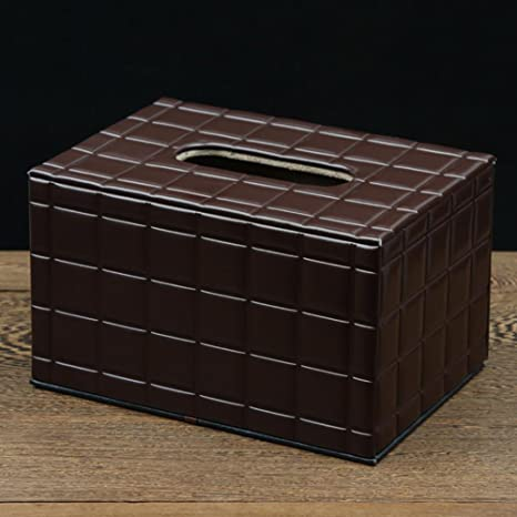 ZHIJINHE Caja de pañuelos, PU Cortex, Estilo del Chocolate, Caja de almacenaje, Salón Dormitorio, Oficina, automóvil, Ornamento, 19 * 13 * 11 cm: Amazon.es: Deportes y aire libre