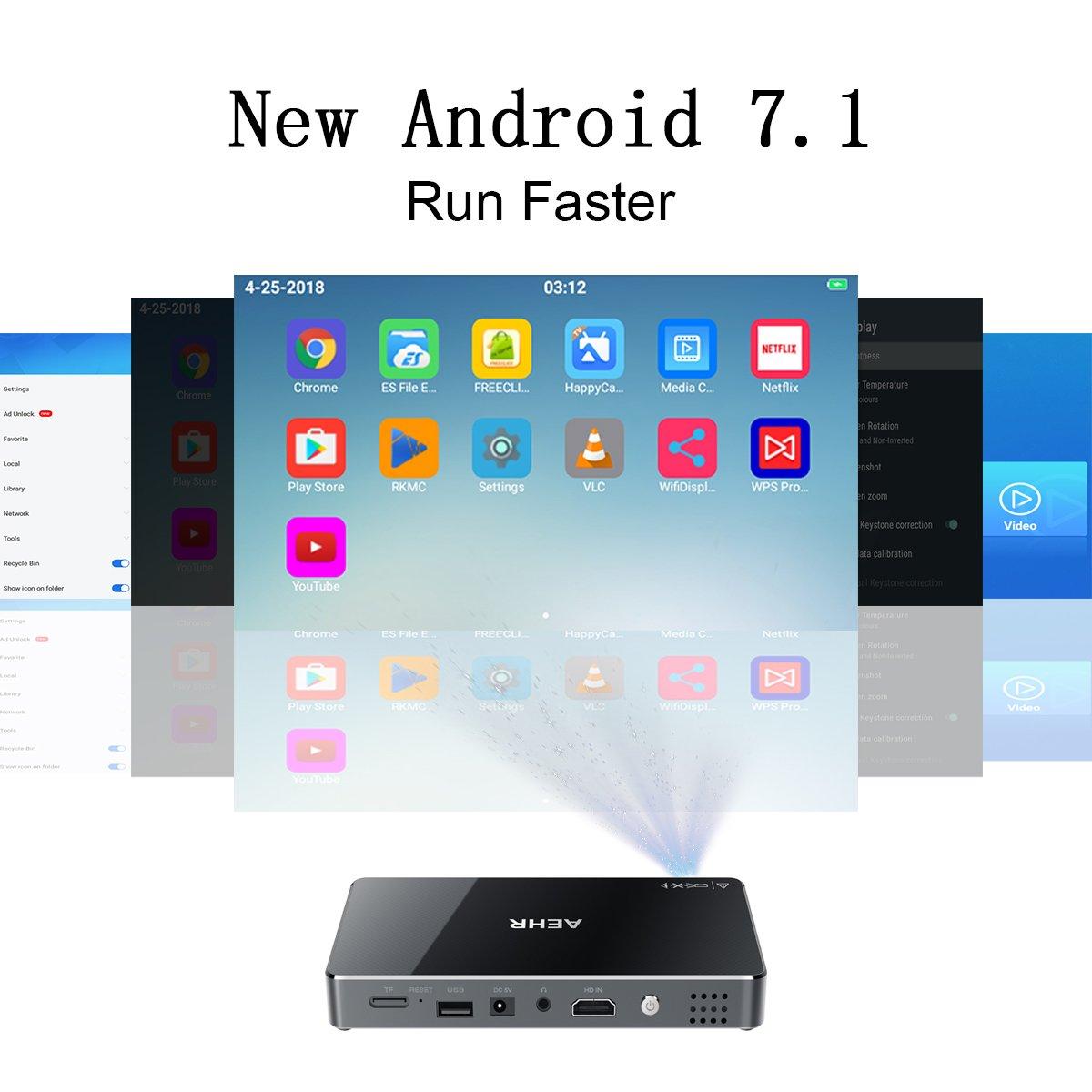 Amazon.com: Mini Projector,Portable Pico Video Projector Android 7.1 ...