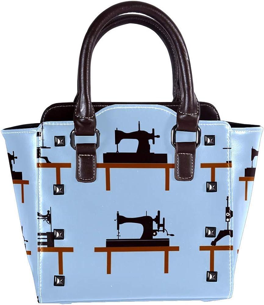 Bolso de mano con asa superior para mujer, de piel, estilo vintage, para máquina de coser, estilo mensajero, bolso de mano