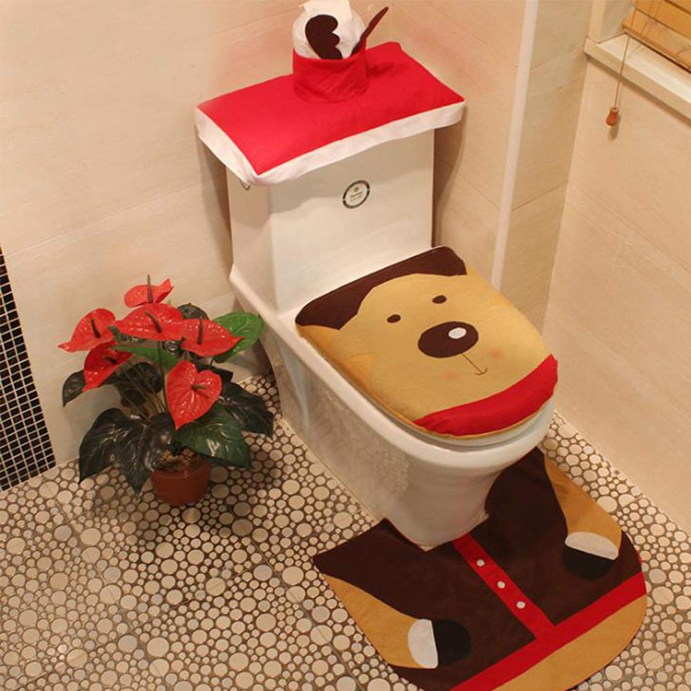 Christmas Decoration 3pcs/Set Toilet Seat Cover & Foot Pad & Water Tank Cover Paper Towel Cover soweilan