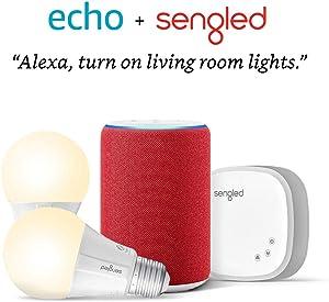 Echo (3rd Gen) RED Edition Bundle with Sengled 2-pack Smart Bulb starter kit