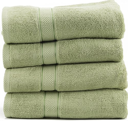 Hotel Sheets Direct 100% Cotton Towel Sets (Set of 4, Green)