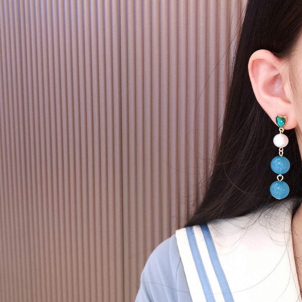 ZHQIC Bordado de Moda Resina de Cristal asimétrica con Perlas combinadas Pendientes de Mujer Temperamento de Mujer