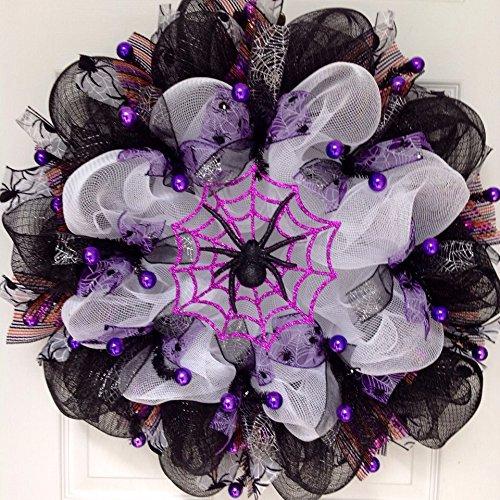 Spider Web Halloween Handmade Deco Mesh Wreath Glittering Purple -