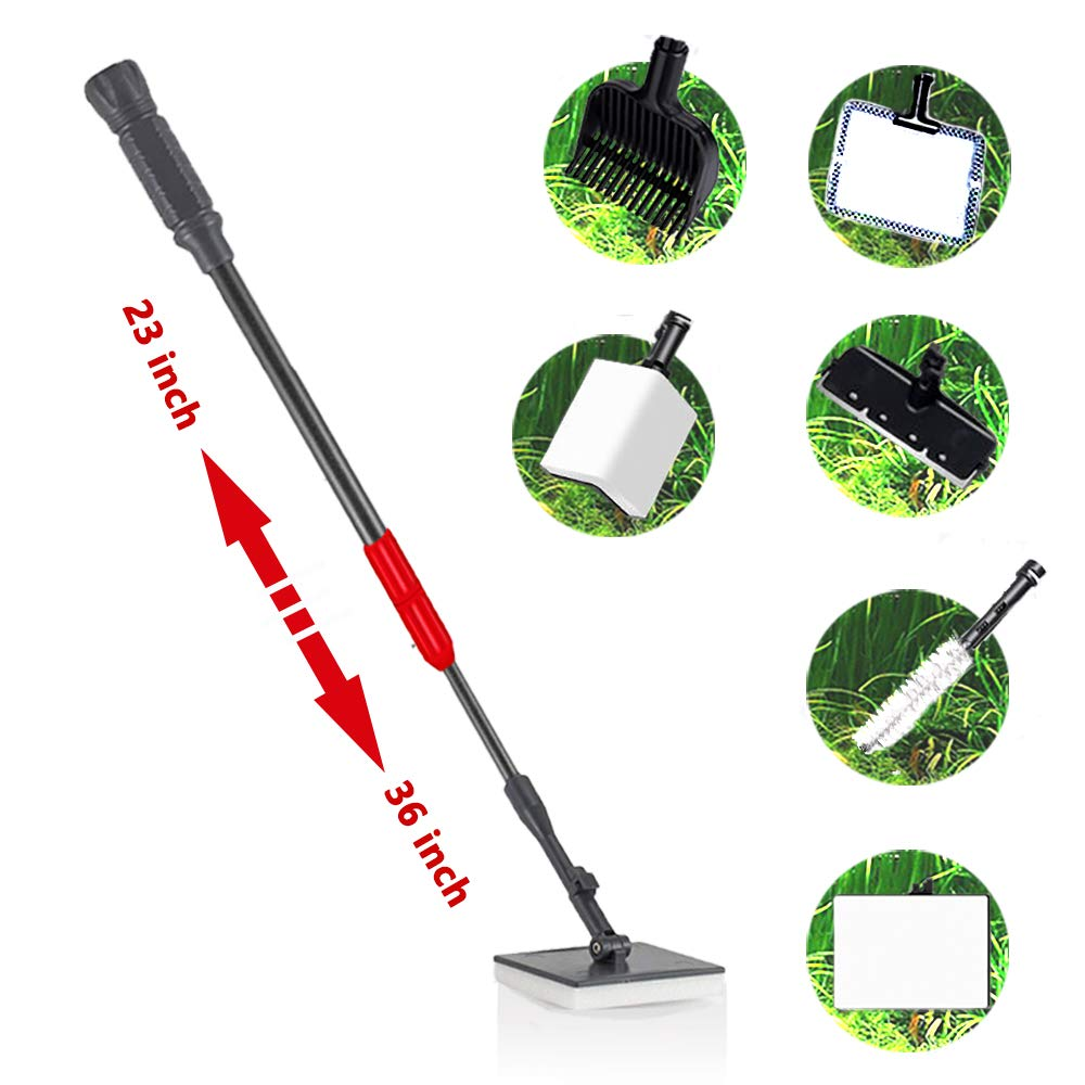 capetsma 6-in-1 Aquarium Cleaning kit, Fish Tank Cleaner Set, Including Algae Scraper, Sponge Pad, Fish Net, Gravel Rake and Cleaning Brush, can Reach 32'' Depth with The Telescopic Handle by capetsma