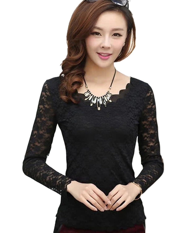 SaiDeng Damen Reine Farbe Einfach und Elegant Schlank V-Ausschnitt Spitze  Langarmshirt Bluse: Amazon.de: Bekleidung