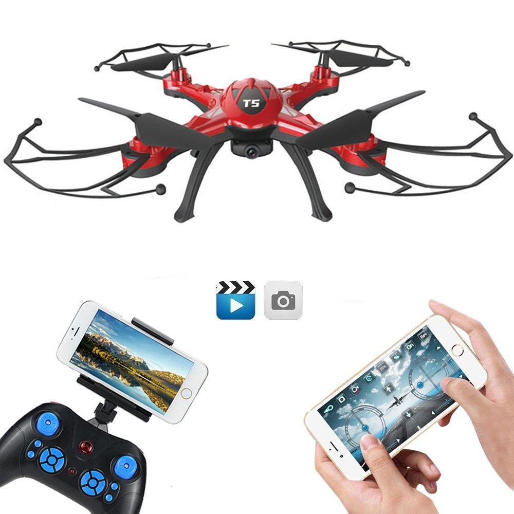 GoolRC T5W Drone con C/ámara 0.3MP Wifi FPV RC Quadcopter 2.4GHz 4CH 6 Ejes Girocomp/ás con Funciones de Retorno Una-tecla Modo CF 360 /° Eversi/ón
