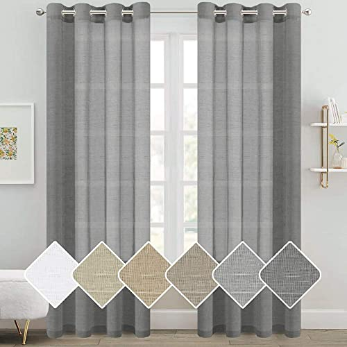 Natural Linen Sheer Curtains Semi Sheer Curtain Panels for Bedroom Living Room Light Filtering Nickel Grommet Window Treatment Decorative Draperies Pair Gray, 52 by 96 Inch, 2 Panels