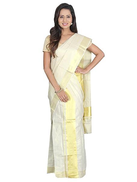 91628c191d K S Collection Women's Kerala Kasavu Cotton Set Mundu Saree  (KSC-024_Beige_Free size)