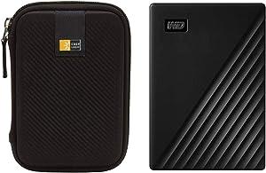 WD 2TB My Passport USB 3.2 Gen 1 Slim Portable External Hard Drive (2019, Black) + Compact Hard Drive Case (Black) (2TB, Black)