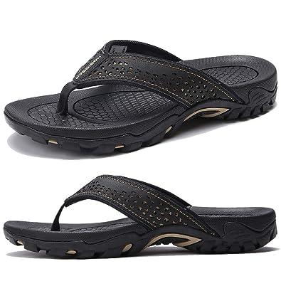 baad3d53d KIIU Mens Flip Flop Indoor and Outdoor Thong Sandals Beach Slippers Black