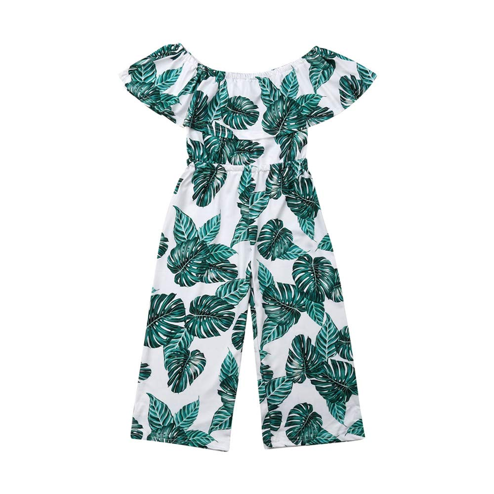 Fashion Toddler Little Girls Off-Shoulder Ruffle Palm Leaf Jumpsuit Romper Wide Leg Overalls Outfit Clothes