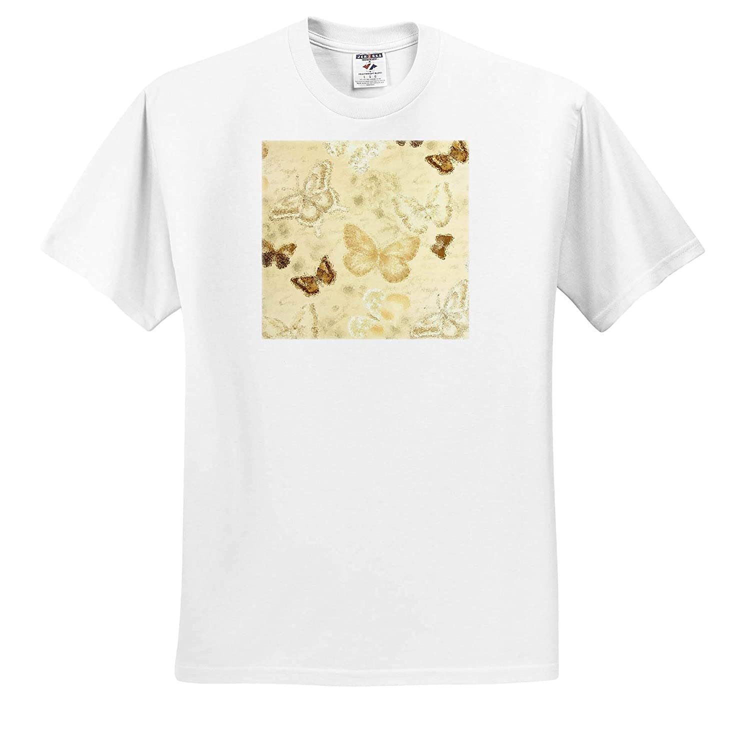 Photo Glass Art Adult T-Shirt XL ts/_318351 3dRose Lens Art by Florene Image of Sepia Butterflies Under Glass
