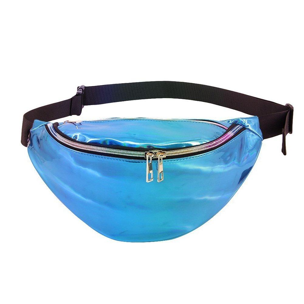 Surenhap Gürteltasche glänzende Bauchtasche Outdoor Wasserdicht Taille Tasche(28 * 14cm, Transparente Bunte Reflexion)