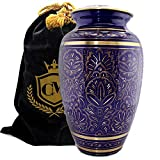 Purple Royale - 100% Brass Burial Or Funeral Cremation Urn for Human Ashes Adult and Small (Large)