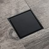 Solid Brass Square Shower Floor Drain with Tile Insert Grate Removable Cover 3.9 inch Long, Black Plated Finish