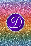 D: Faux rainbow glitter purple monogram initial D journal