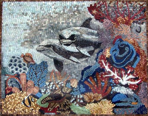 Dolphins in Coral Reef Hand Made Marble Mosaic Decorative