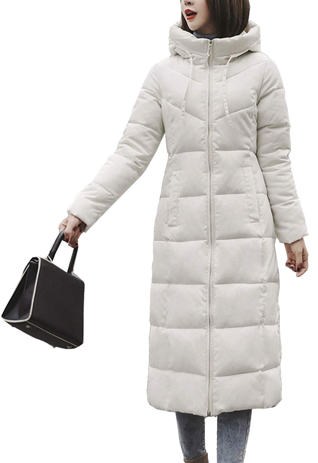White 2 Flygo Womens Winter Warm Faux Fur Hooded Collar Down Coat Qulited Puffer Jacket