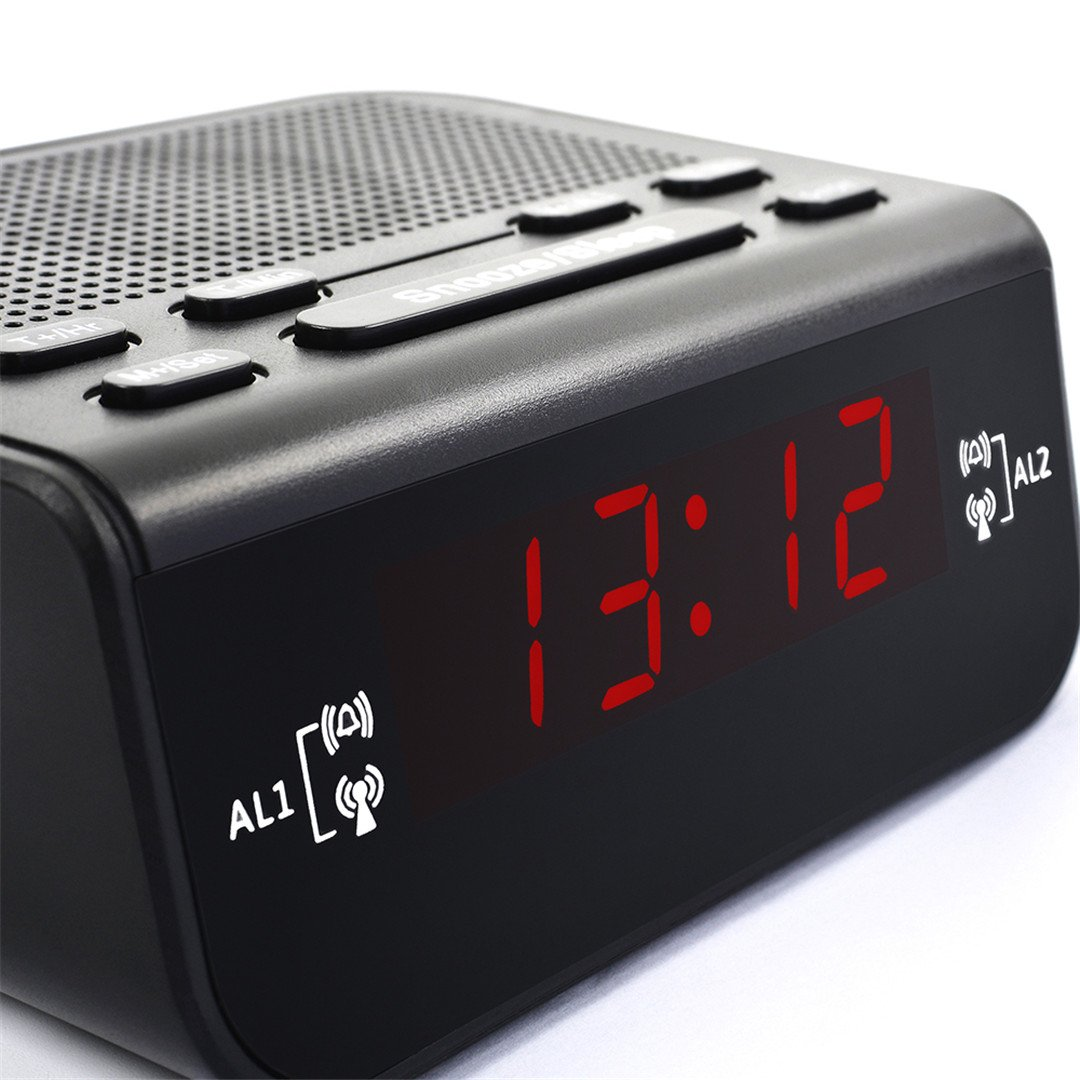 Amazon.com: HOMECLVS LED Fantastic Fm Radio Digital Clock Alarm Clock with Snooze Fuction Compact Modern Design Reloj Digital Pared Black: Home & Kitchen