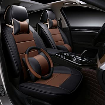 ANKIV Brown Black Full Set Brief PU Leather Contrast Color Car Seat Covers Universal Fit 5