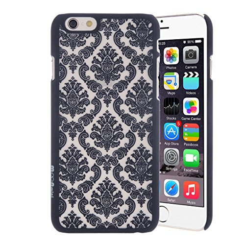 Moonmini Baroque Retro Court Lace Pattern Texture Hard Plastic Clear Case for Apple iPhone 6 / Apple iPhone 6S 4.7 inch Damask Black