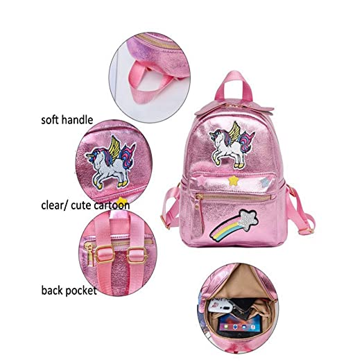 Amazon.com: Fanovo Pink Rainbow Unicorn Backpack, Mini Travel Backpack, Shiny Backpack for Girls, Super Cool Leather Daypack + ...