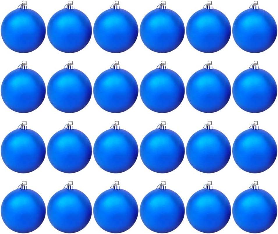 Homo Trends Lot de 24 mini boules de No/ël d/écor/ées mat 30 mm Bleu