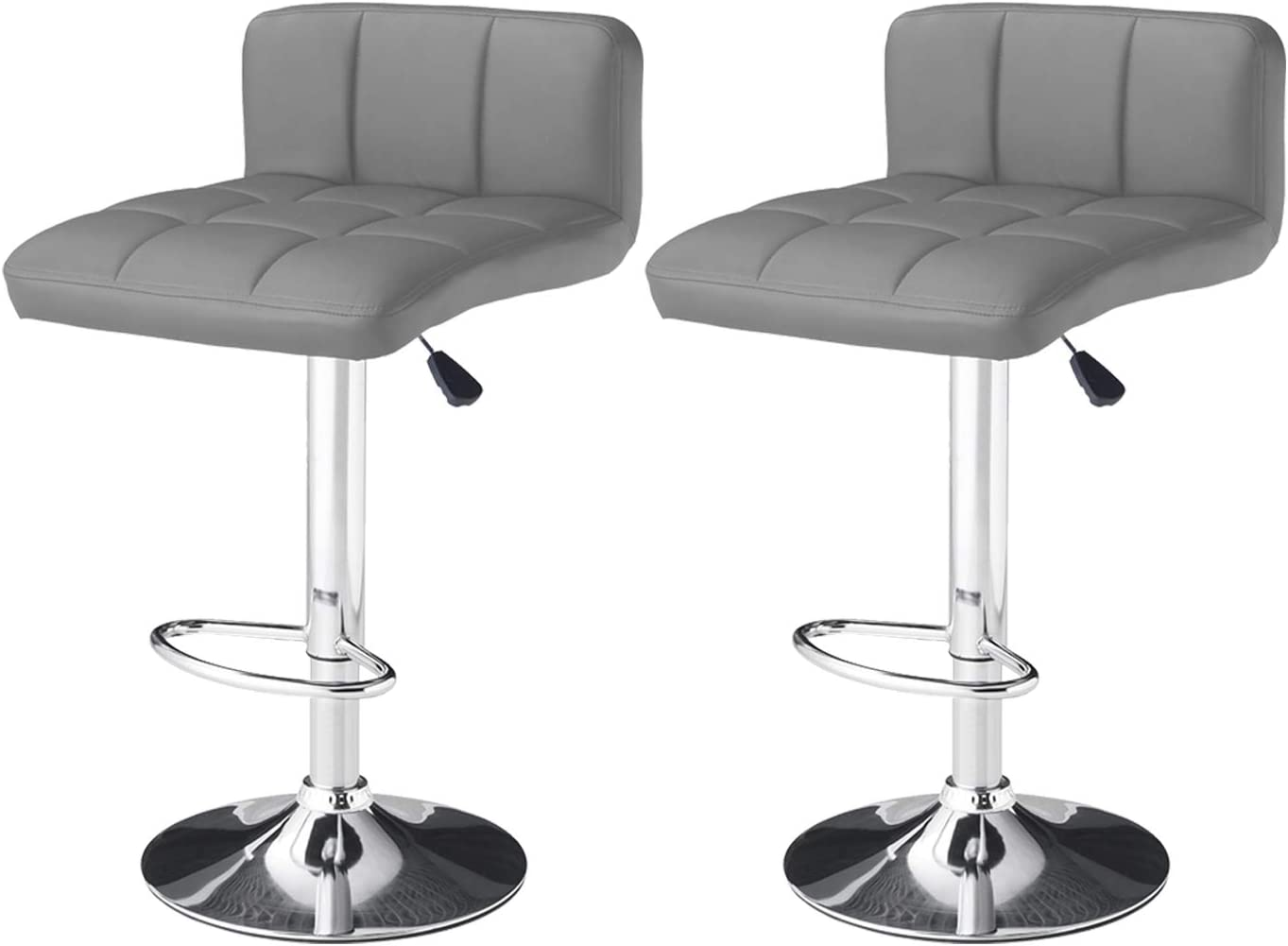 LOVEMYHOUSE Bar Stools Made of PU Leatherette Exterior with Adjustable Swivel Gas Lift and Chrome Footrest Base for Breakfast Counter Kitchen Home Bar Black, 1PCS