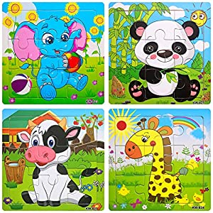 Gudi Toy Wooden Jigsaw Puzzles for Kids,Age 2-5 Year Old,9 Piece Wooden Animals Puzzle,Colorful Learning Educational Toys for Boys and Girls (4 Puzzles)