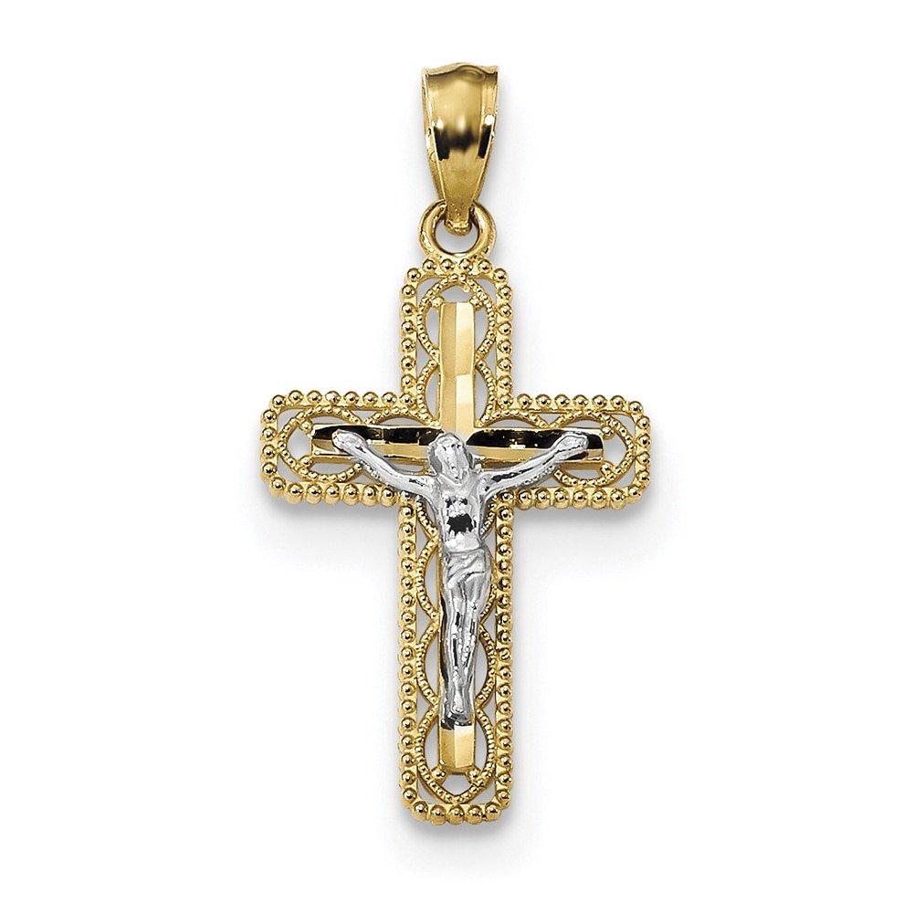 Lex /& Lu 14k Two-tone Gold Polished Crucifix Pendant LAL102644