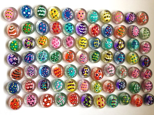 Jazzy Glass Gems, Hand Painted Set of 24 EASTER EGGS / COLORED EGGS; Party Supplies, Party Favor, Decoration, Crafts - Easter - Scratch Glasses For Filler