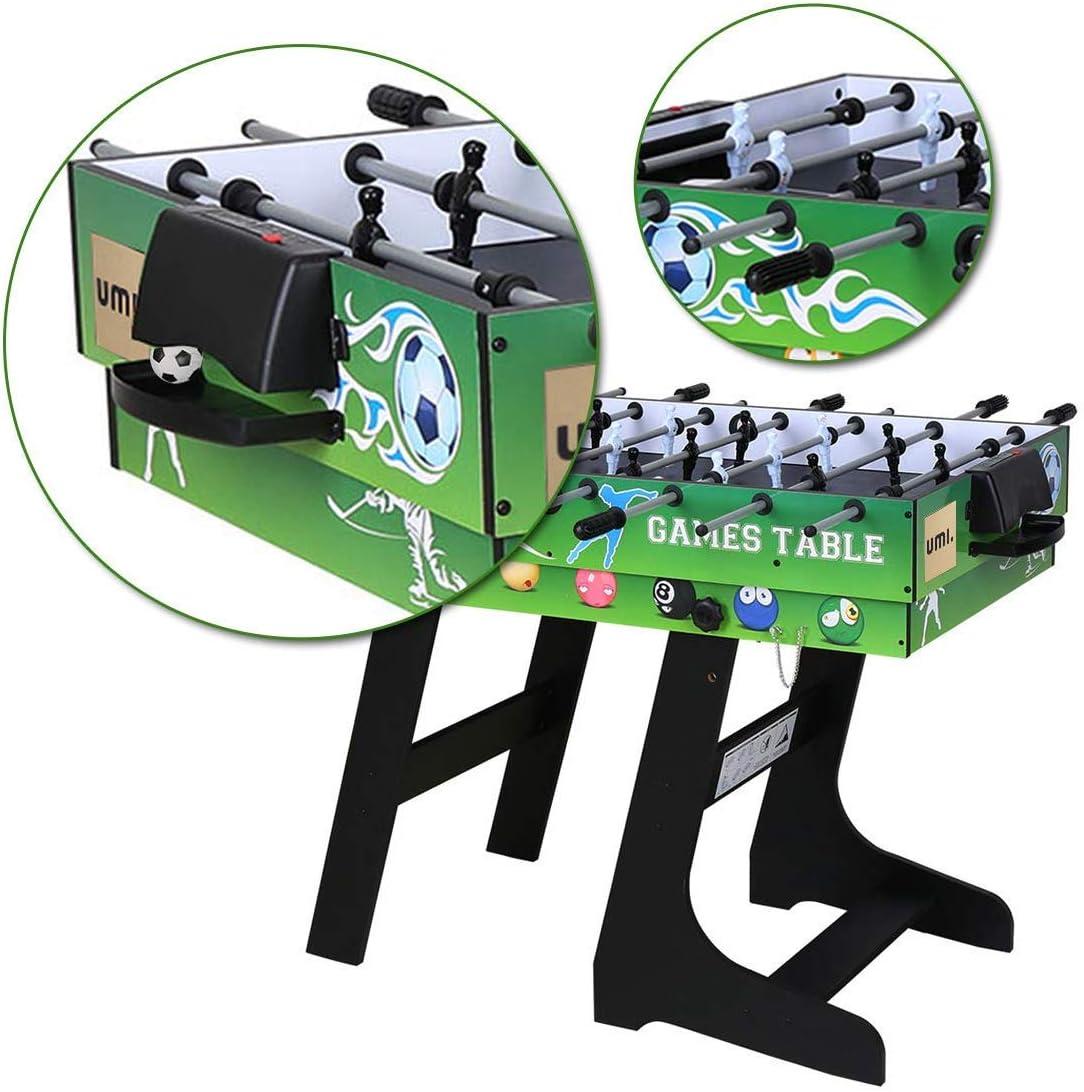 Umi. Essentials Mesa Multijuegos Plegable 4 en 1 Mesa de Billar, Ping Pong, Hockey y Futbolín Buen Regalo para Las Fiestas Juegos Entre Familia y Amigos: Amazon.es: Deportes y aire libre