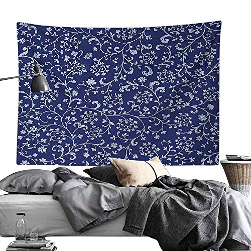 Wall Tapestries Floral Victorian Baroque Style Classic Swirled Flowers with Damask Effects Pattern Bedroom Home Decor W70 x L59 Indigo Violet Blue ()