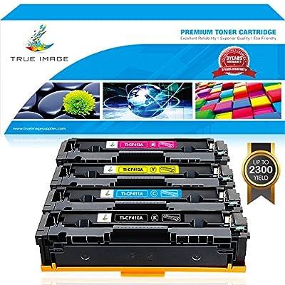 True Image 4 Packs Compatible for HP 410A CF410A 410X CF410X Toner for HP Color Laserjet Pro MFP M477fdw M477fnw M477fdn M477, M452dw M452nw M452dn M452 M377dw Printer Ink CF410A CF411A CF412A CF413A
