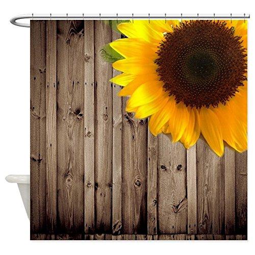 CafePress - sunflower barnwood country Shower- Decorative Fabric Shower Curtain