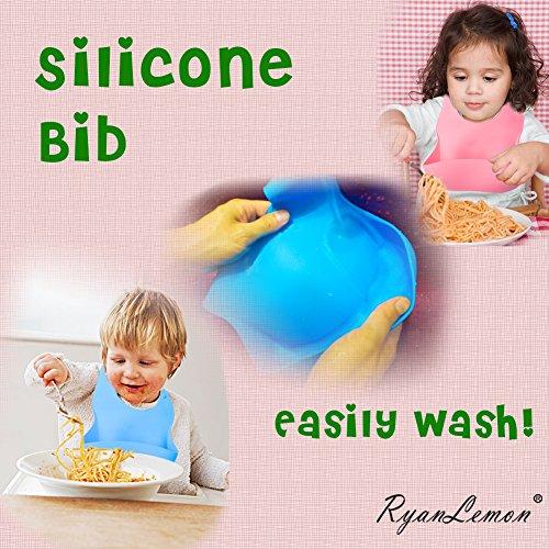 61DVc o7usL - Baby Feeding Suction Bowl Silicone Bib Mash Bowl Set Feeding Spoons Blue