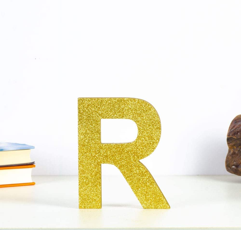 Gold glitter shiny Decorative Wood Letters 26 Letters Block Wooden Alphabet Hanging Wall Letter for Brithday Wedding Home Decorations-Letters (R)