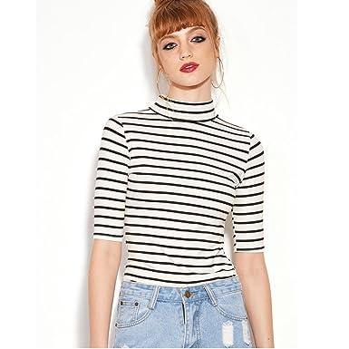 c702b9a0d Familizo Fashion Women Black White Striped T-Shirt High Neck Slim Blouse (S,